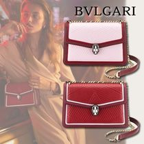 Bvlgari Chain Plain Leather Elegant Style Shoulder Bags