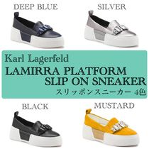 Karl Lagerfeld Platform Casual Style Suede Leather With Jewels