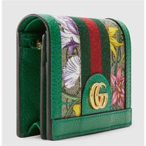 GUCCI Ophidia Flower Patterns Monogram Canvas Leather Folding Wallet