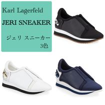 Karl Lagerfeld Round Toe Rubber Sole Casual Style Plain Leather