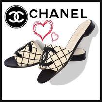 CHANEL ICON Other Check Patterns Open Toe Casual Style Street Style