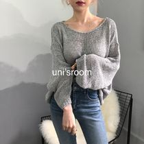 Casual Style U-Neck Boat Neck Long Sleeves Plain Medium Long