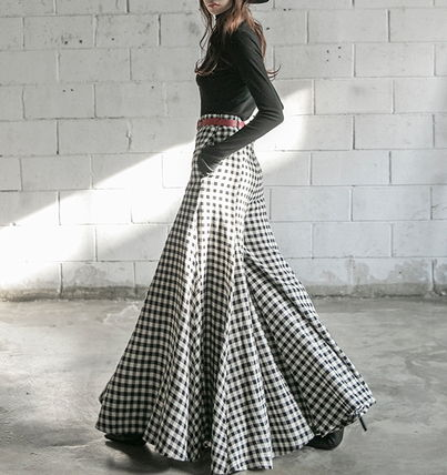 Gingham Casual Style Street Style Plain Cotton Long Pants