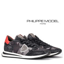 PHILIPPE MODEL PARIS Camouflage Suede Blended Fabrics Sneakers