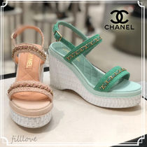 CHANEL Open Toe Platform Casual Style Blended Fabrics Chain Plain