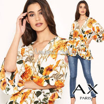 AXPARIS Flower Patterns Casual Style Cropped Medium Party Style