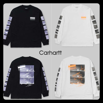 Carhartt Long Sleeve Crew Neck Unisex Street Style Long Sleeves Cotton
