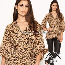 AXPARIS Leopard Patterns Casual Style Cropped Medium Party Style