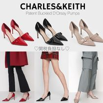 Charles&Keith Casual Style Faux Fur Plain Pin Heels Office Style