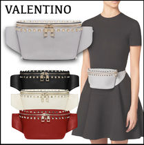VALENTINO Casual Style Calfskin Studded Logo Hip Packs