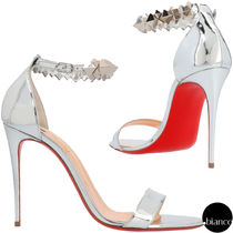 Christian Louboutin Open Toe Enamel Studded Plain Leather Pin Heels