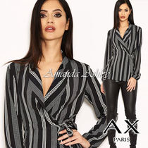 AXPARIS Stripes Casual Style Long Sleeves Medium Party Style