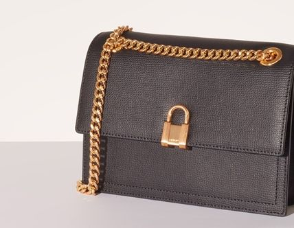 Casual Style Chain Leather Office Style Shoulder Bags