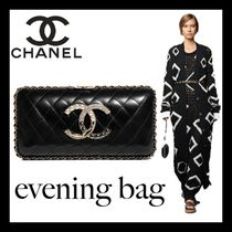 CHANEL Casual Style Lambskin Chain Plain Party Style With Jewels