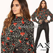 AXPARIS Flower Patterns Casual Style Long Sleeves Medium Party Style