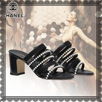 CHANEL Open Toe Casual Style Studded Plain Leather Block Heels