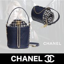 CHANEL Gingham Casual Style Unisex Calfskin 2WAY Chain Plain