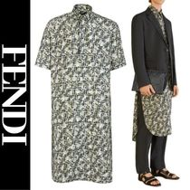 FENDI Camouflage Silk Short Sleeves Oversized Shirts