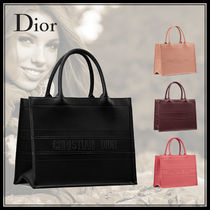 Christian Dior Casual Style Calfskin Plain Office Style Elegant Style Totes