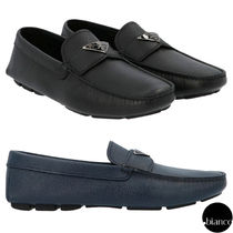PRADA SAFFIANO LUX Driving Shoes Leather U Tips Logo Loafers & Slip-ons