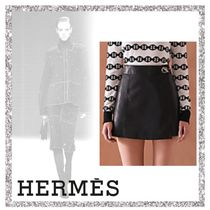 HERMES Plain Leather Leather & Faux Leather Shorts