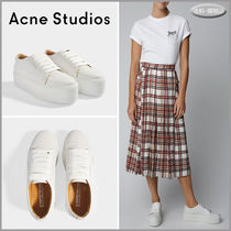 Acne Platform Round Toe Rubber Sole Lace-up Casual Style Plain