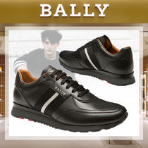 BALLY Stripes Street Style Bi-color Plain Leather Sneakers