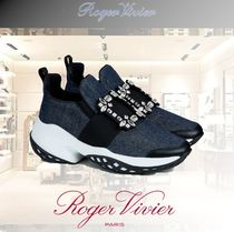 Roger Vivier Round Toe Rubber Sole Casual Style Blended Fabrics Leather