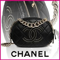 CHANEL Lambskin Studded Plain Elegant Style Shoulder Bags
