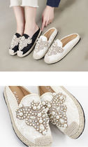 Flower Patterns Round Toe Casual Style Faux Fur Sabo