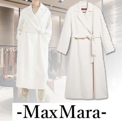 Casual Style Wool Cashmere Blended Fabrics Plain Long