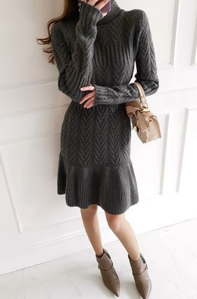 Short Casual Style Flared Long Sleeves Office Style Dresses