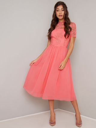Flared Medium Short Sleeves High-Neck Dresses