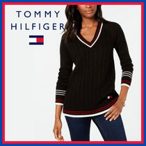 Tommy Hilfiger Cable Knit Stripes Unisex V-Neck Long Sleeves Plain Long