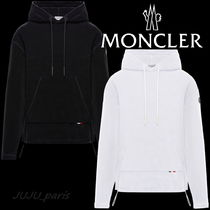 MONCLER Long Sleeves Plain Cotton Oversized Logos on the Sleeves