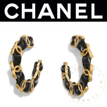 CHANEL ICON Costume Jewelry Casual Style Street Style Leather Handmade