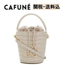 CAFUNE Casual Style Plain Leather Purses Office Style Bucket Bags