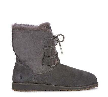 Lace-up Casual Style Sheepskin Lace-up Boots