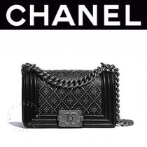 CHANEL BOY CHANEL Casual Style Calfskin Blended Fabrics Studded Street Style