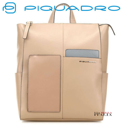 Casual Style 2WAY Plain Leather Office Style Backpacks