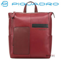 PIQUADRO Casual Style 2WAY Plain Leather Office Style Backpacks