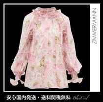 Zimmermann Flower Patterns Casual Style Silk Long Sleeves Party Style
