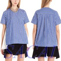 sacai Stripes Casual Style Cotton Short Sleeves Shirts & Blouses