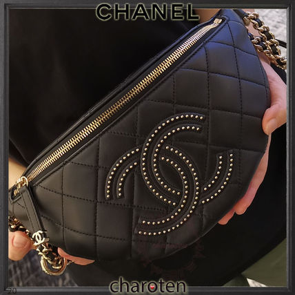 CHANEL ICON Casual Style Unisex Lambskin Studded Street Style 3WAY Chain