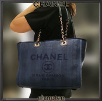 CHANEL DEAUVILLE Stripes Casual Style Unisex Calfskin Canvas A4 2WAY Chain