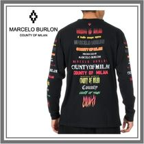 Marcelo Burlon Crew Neck Monogram Unisex Long Sleeves Plain Cotton