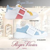 Roger Vivier Round Toe Rubber Sole Casual Style Blended Fabrics