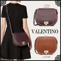 VALENTINO Casual Style Calfskin Studded 2WAY Plain Leather Party Style