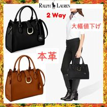 Ralph Lauren 2WAY Plain Leather Office Style Elegant Style Satchels