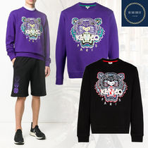 KENZO Crew Neck Pullovers Street Style Long Sleeves Cotton